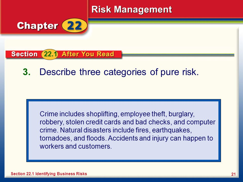Describe three categories of pure risk.