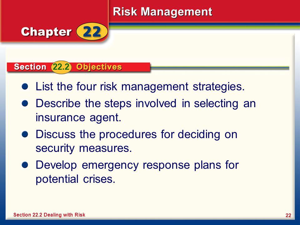 List the four risk management strategies.