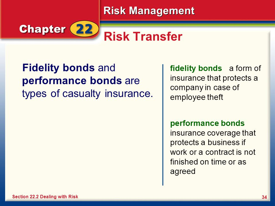 Risk Transfer Fidelity bonds and performance bonds are types of casualty insurance.
