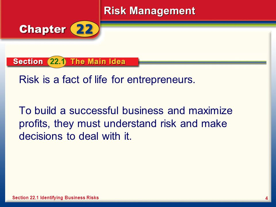 Risk is a fact of life for entrepreneurs.