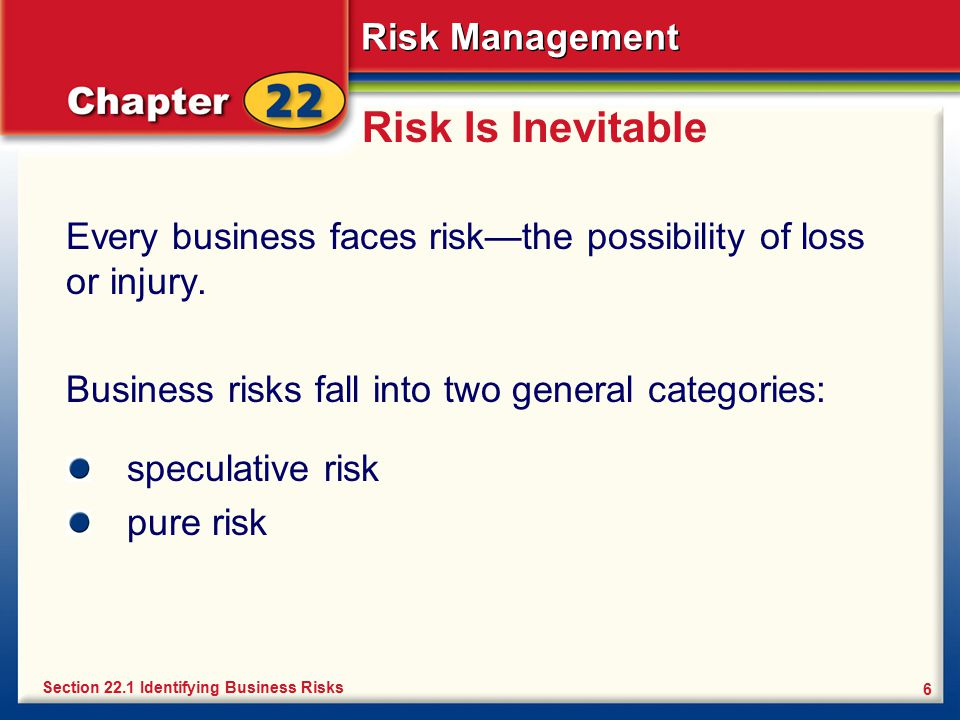 Risk Is Inevitable Every business faces risk—the possibility of loss or injury. Business risks fall into two general categories: