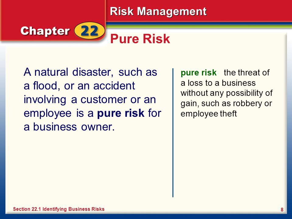Pure Risk A natural disaster, such as a flood, or an accident involving a customer or an employee is a pure risk for a business owner.