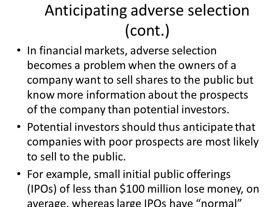 Anticipating adverse selection (cont.)