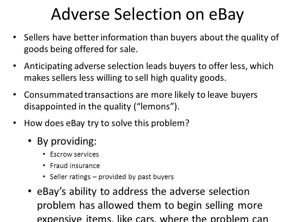 Adverse Selection on eBay