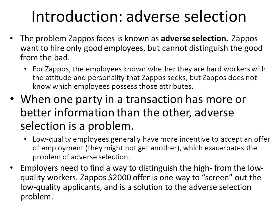 Introduction: adverse selection