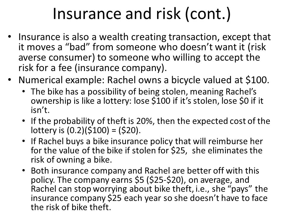 Insurance and risk (cont.)