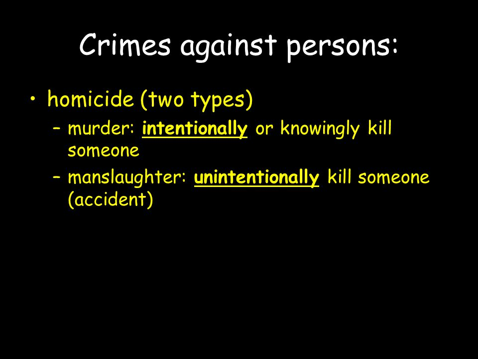 Crimes against persons: