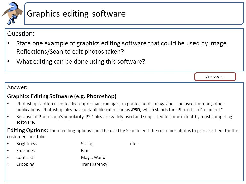 Graphics editing software
