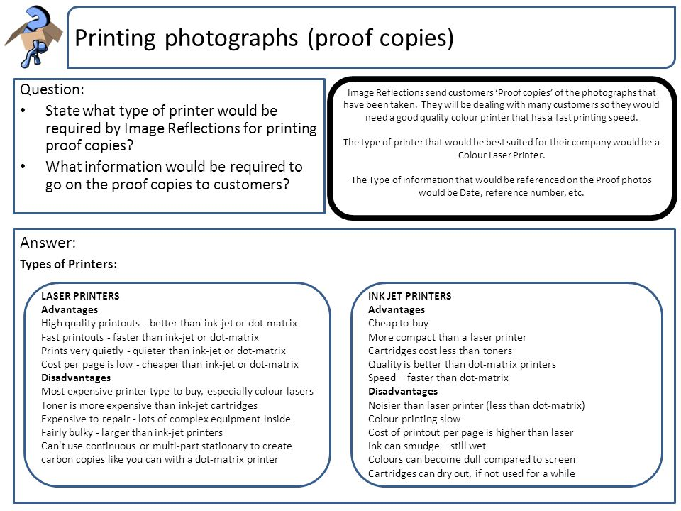 Printing photographs (proof copies)