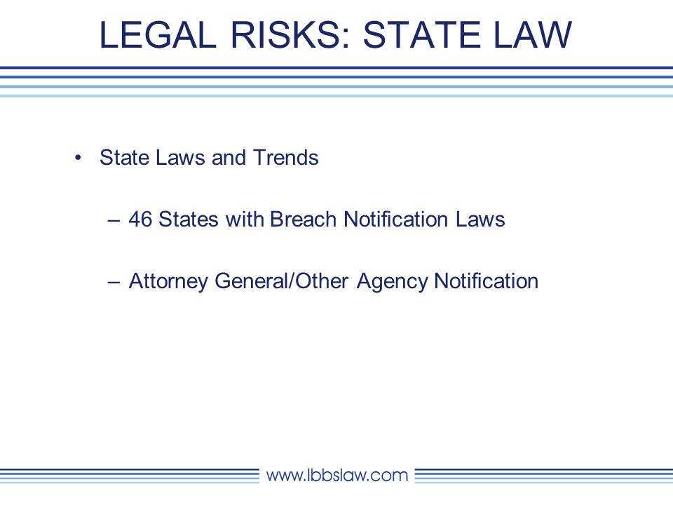 LEGAL RISKS: STATE LAW State Laws and Trends