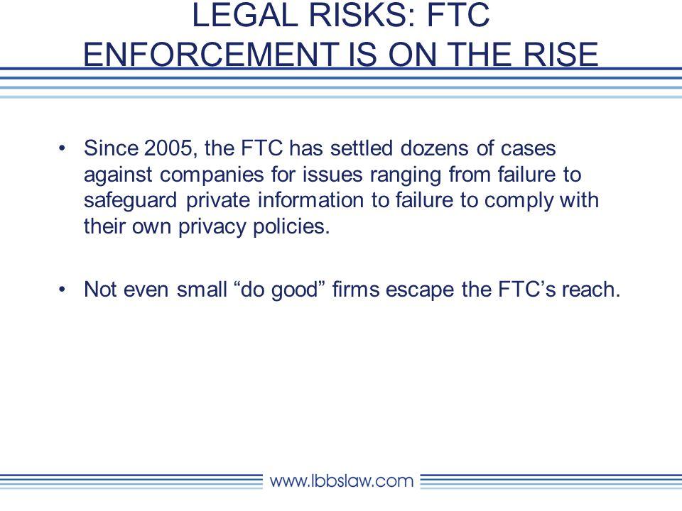 LEGAL RISKS: FTC ENFORCEMENT IS ON THE RISE