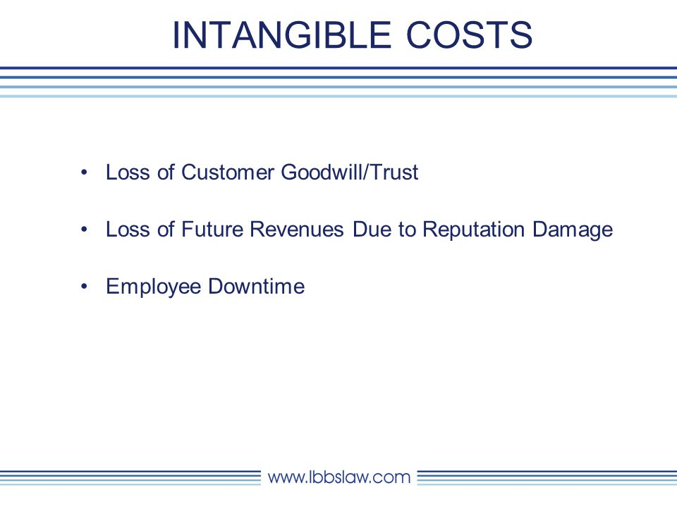 INTANGIBLE COSTS Loss of Customer Goodwill/Trust