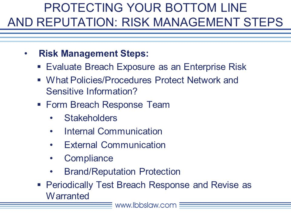 PROTECTING YOUR BOTTOM LINE AND REPUTATION: RISK MANAGEMENT STEPS