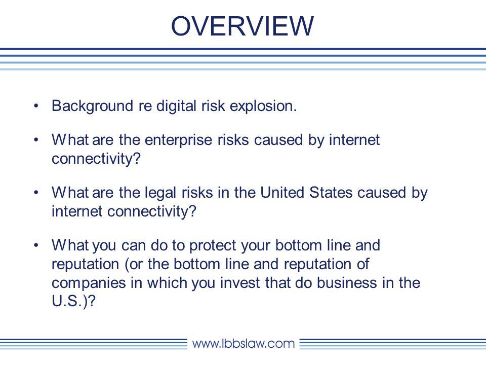 OVERVIEW Background re digital risk explosion.