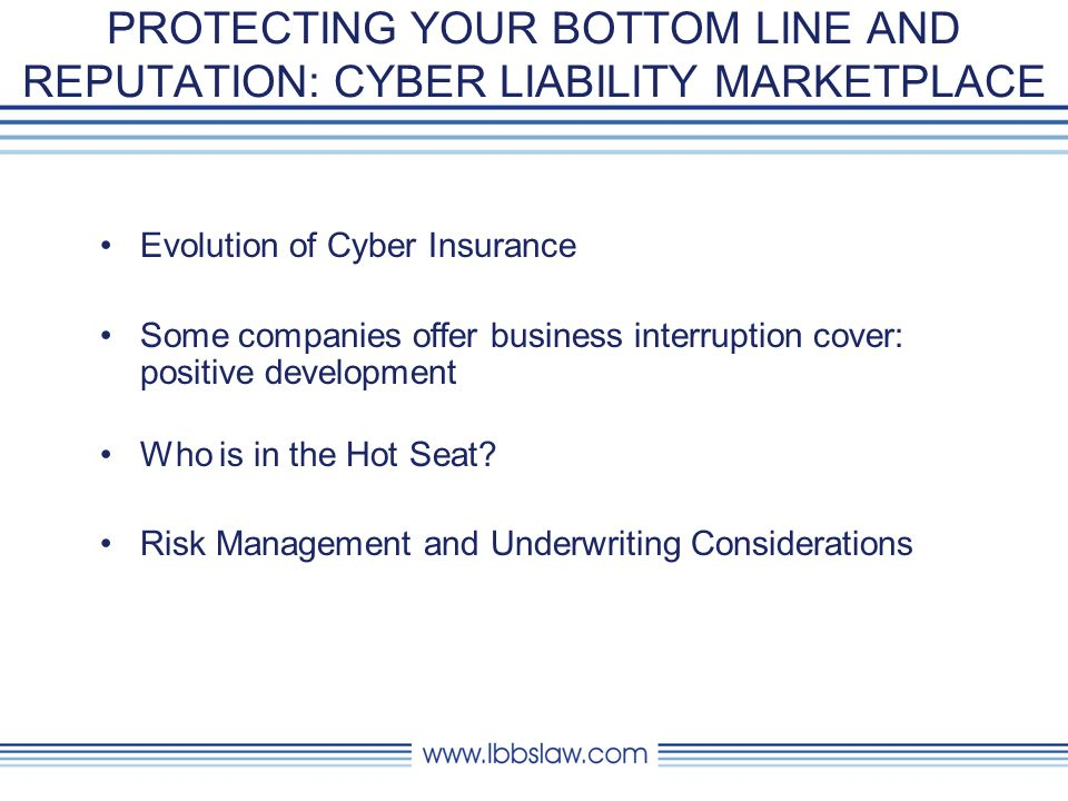 PROTECTING YOUR BOTTOM LINE AND REPUTATION: CYBER LIABILITY MARKETPLACE