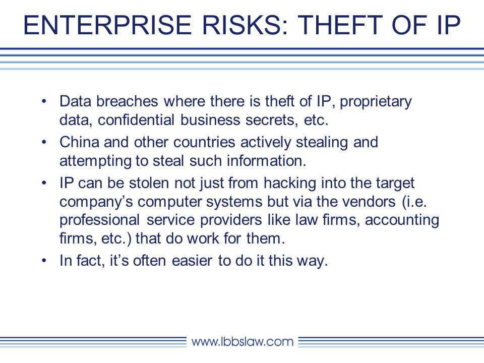 ENTERPRISE RISKS: THEFT OF IP