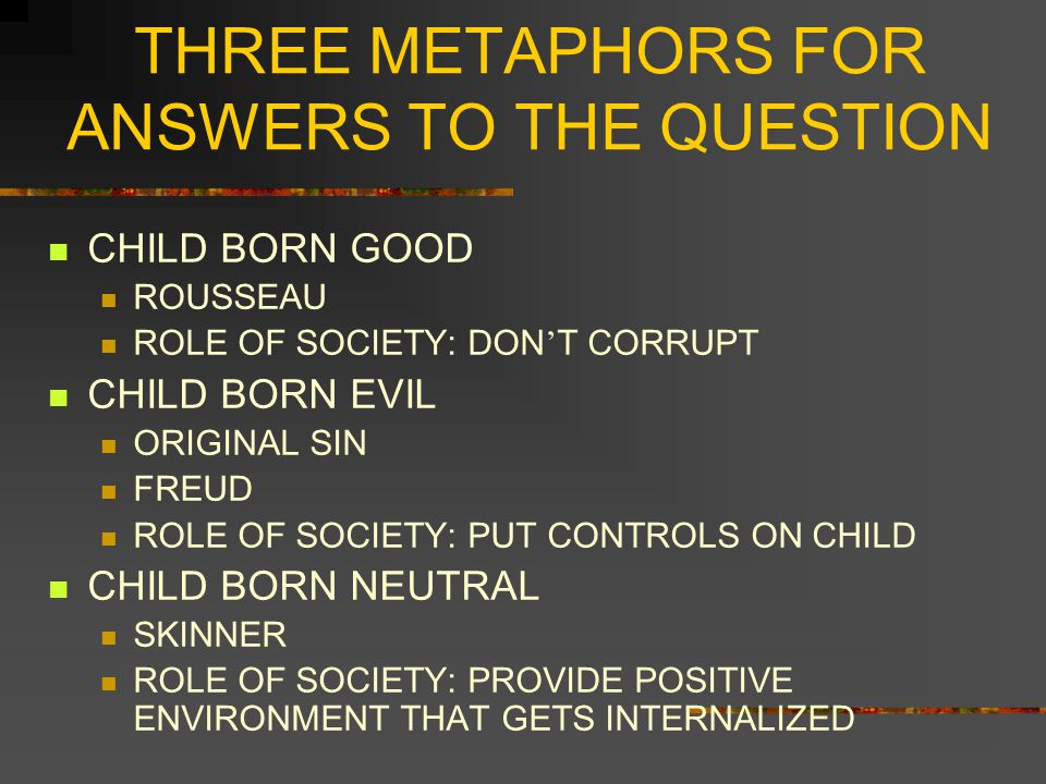 THREE METAPHORS FOR ANSWERS TO THE QUESTION