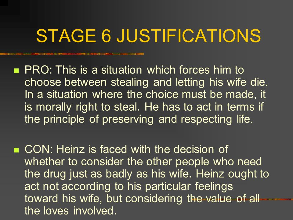 STAGE 6 JUSTIFICATIONS