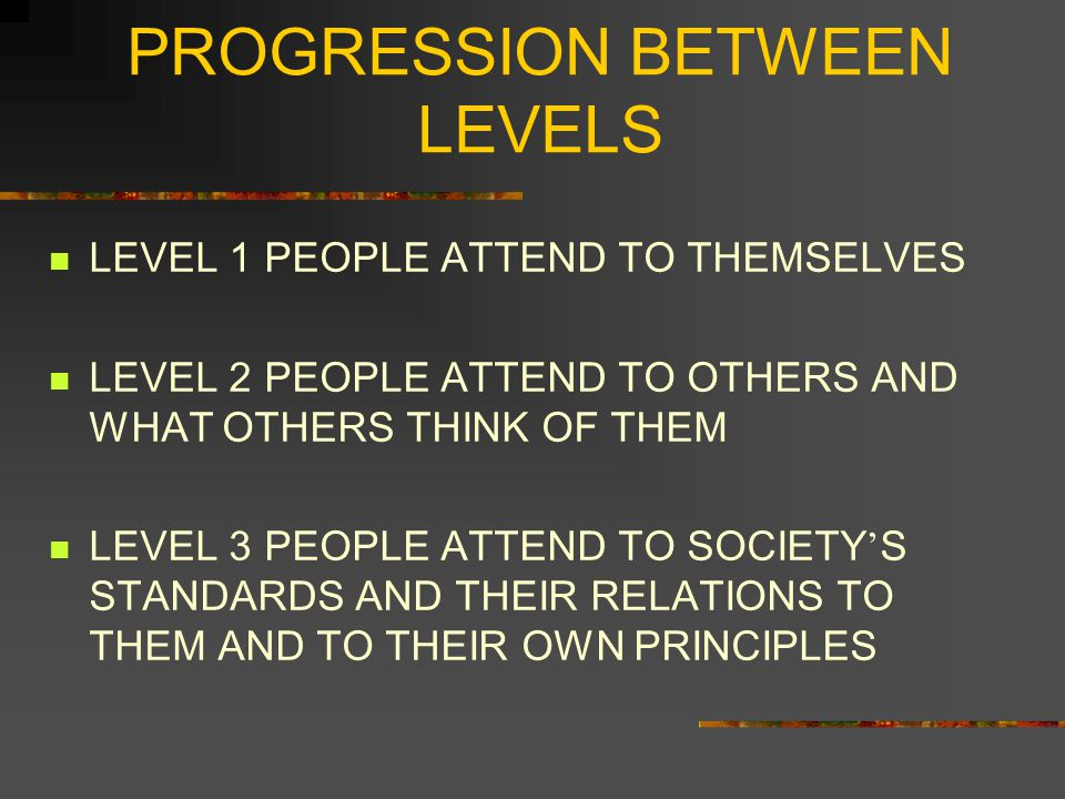 PROGRESSION BETWEEN LEVELS