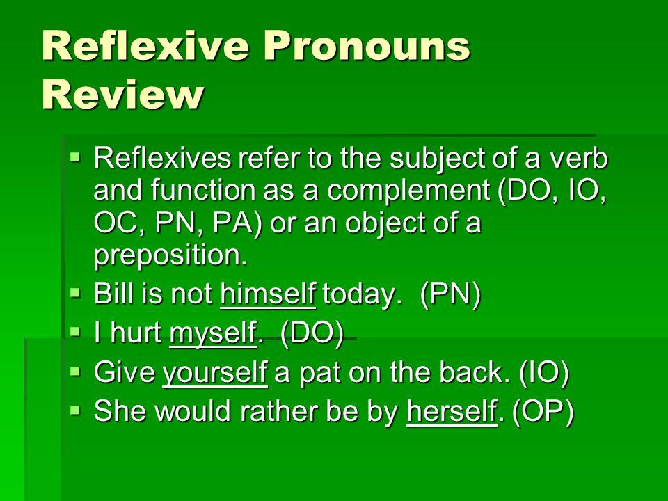 Reflexive Pronouns Review
