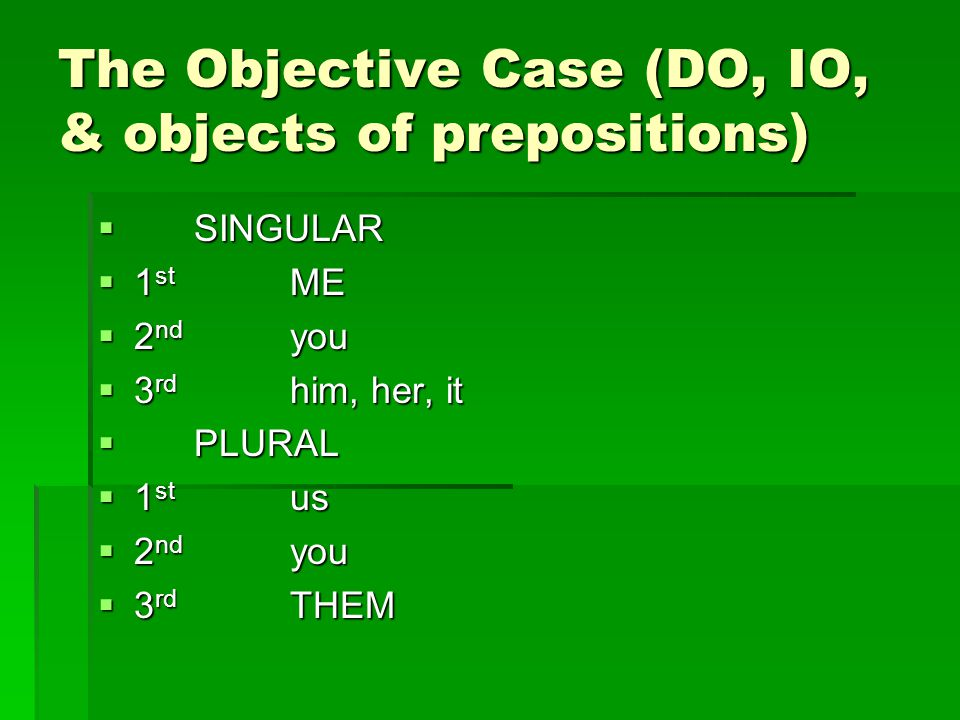 The Objective Case (DO, IO, & objects of prepositions)