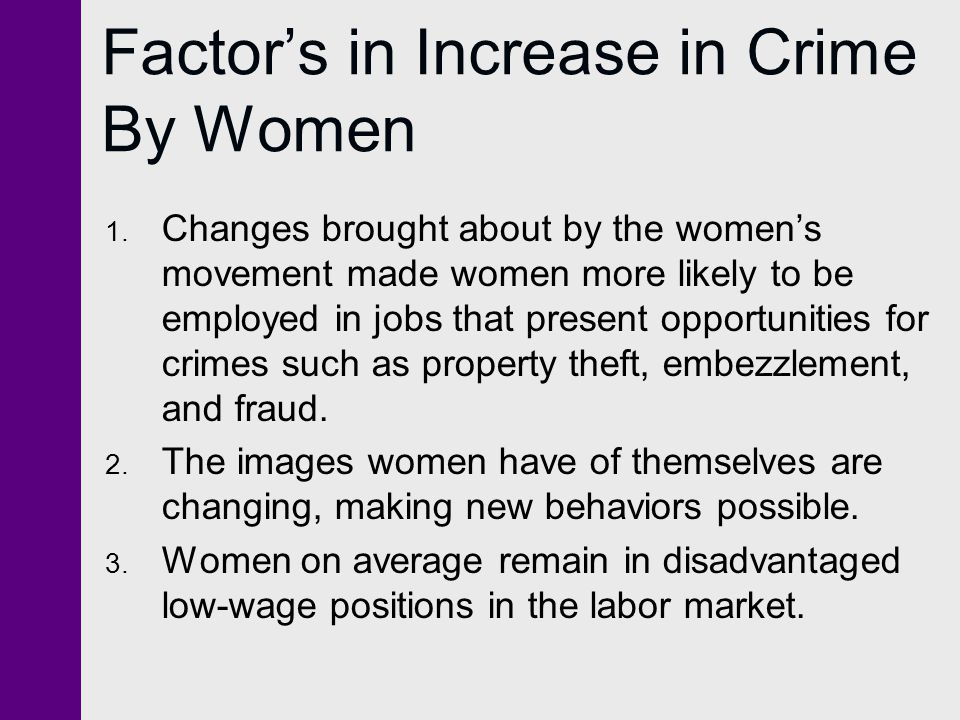 Factor's in Increase in Crime By Women