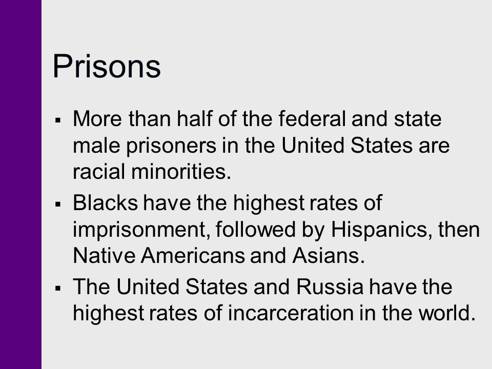 Prisons More than half of the federal and state male prisoners in the United States are racial minorities.