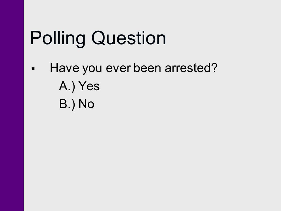 Polling Question Have you ever been arrested A.) Yes B.) No