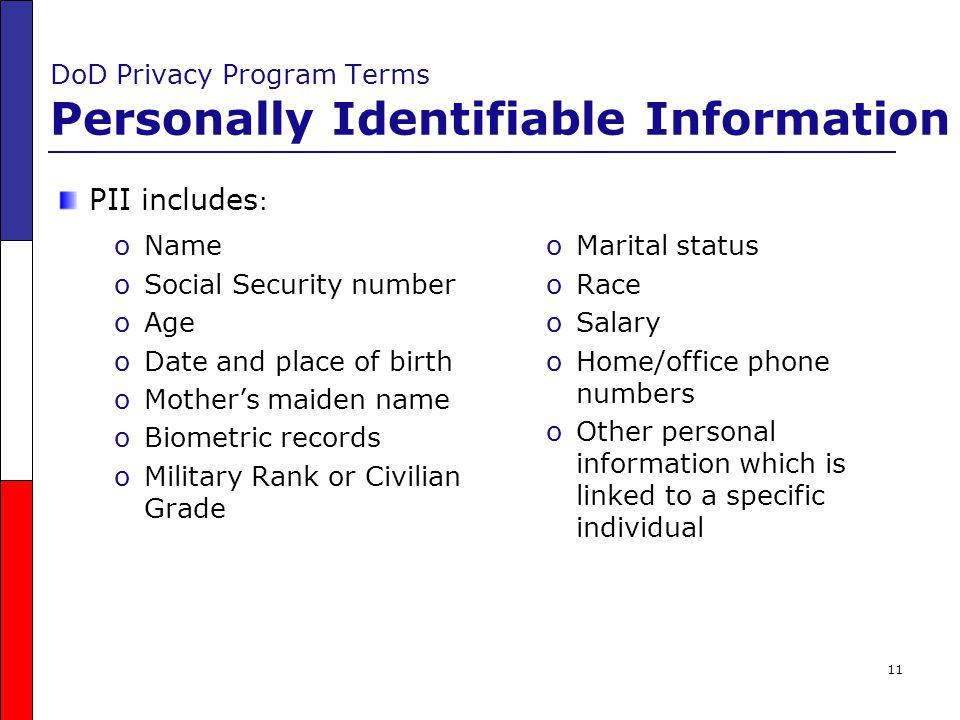 DoD Privacy Program Terms Personally Identifiable Information