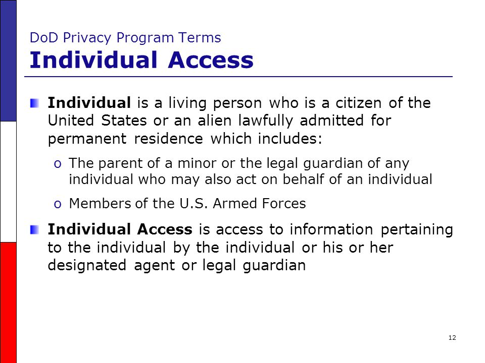 DoD Privacy Program Terms Individual Access