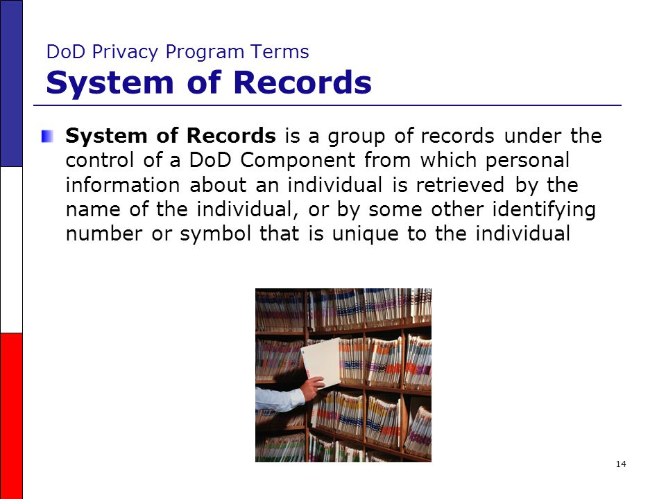 DoD Privacy Program Terms System of Records