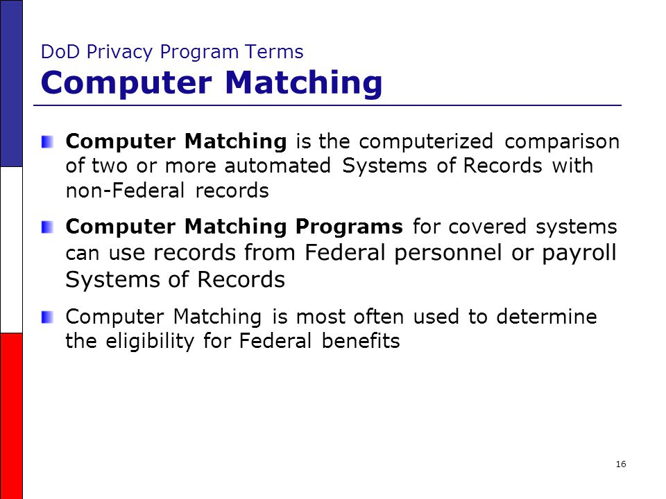 DoD Privacy Program Terms Computer Matching