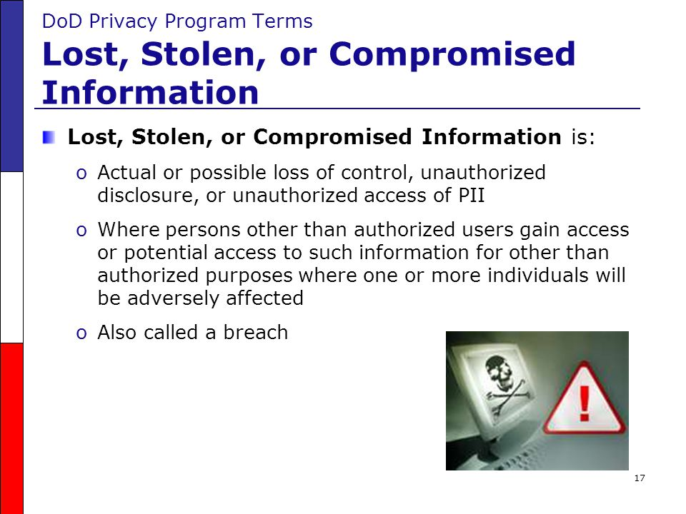 DoD Privacy Program Terms Lost, Stolen, or Compromised Information