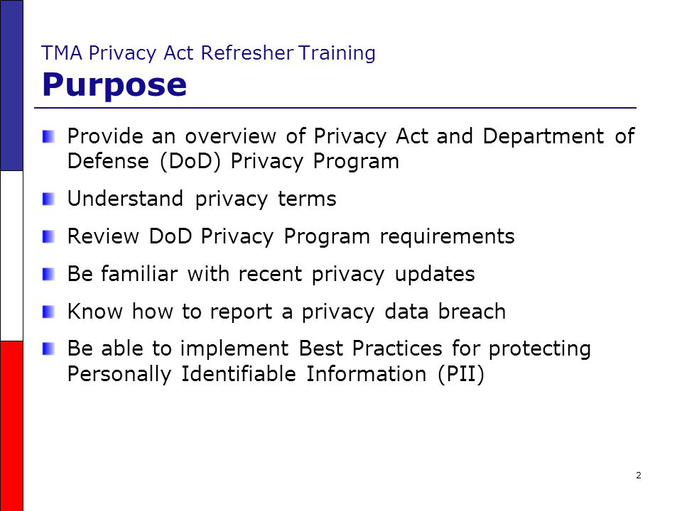 TMA Privacy Act Refresher Training Purpose