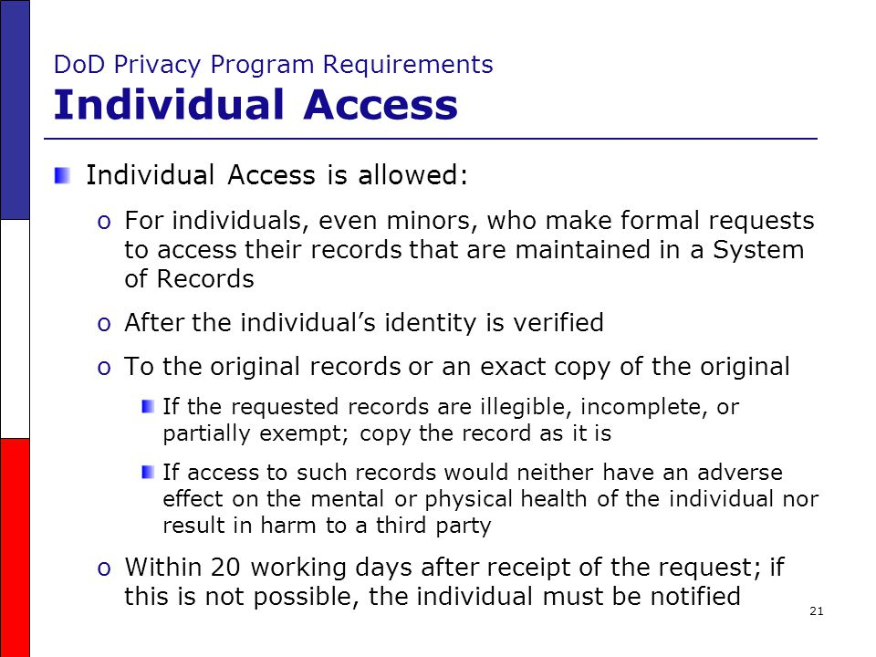 DoD Privacy Program Requirements Individual Access