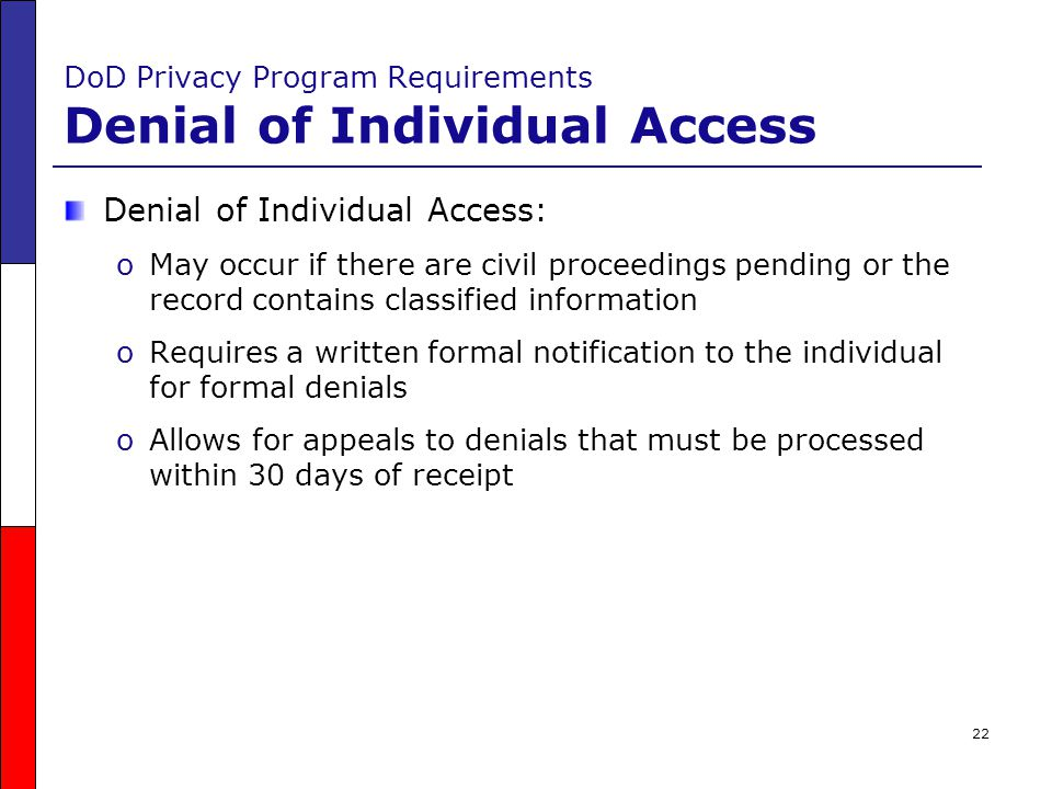 DoD Privacy Program Requirements Denial of Individual Access