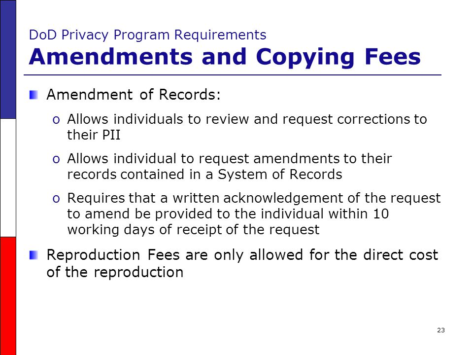 DoD Privacy Program Requirements Amendments and Copying Fees
