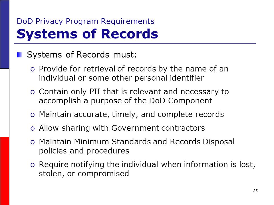 DoD Privacy Program Requirements Systems of Records