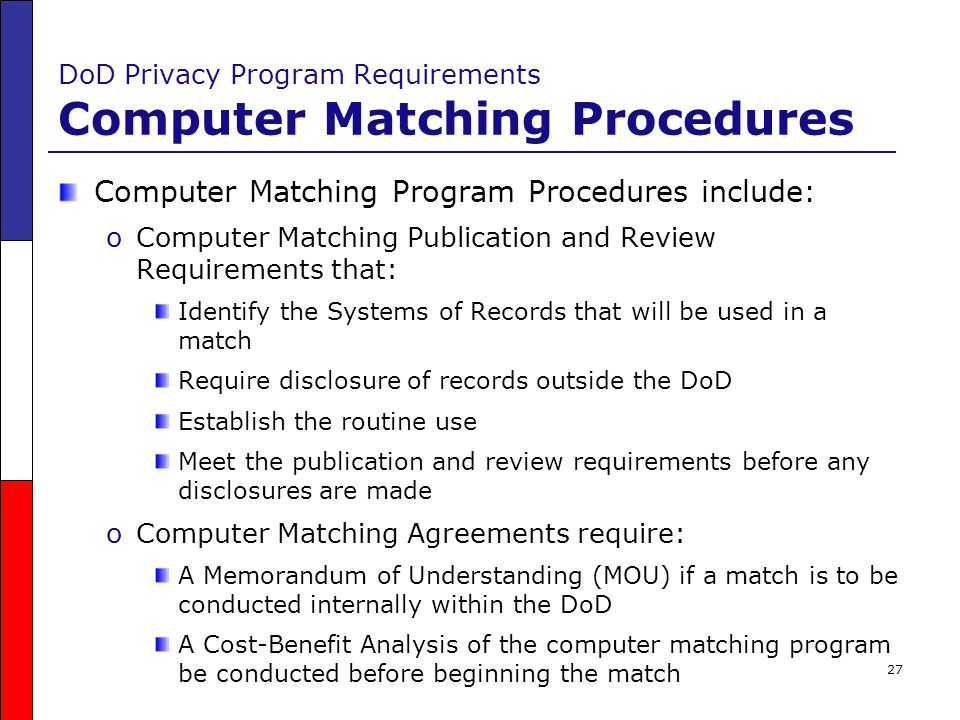 DoD Privacy Program Requirements Computer Matching Procedures