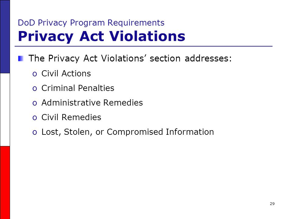 DoD Privacy Program Requirements Privacy Act Violations