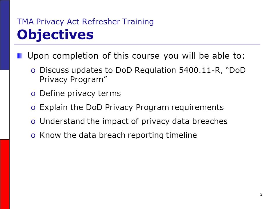 TMA Privacy Act Refresher Training Objectives