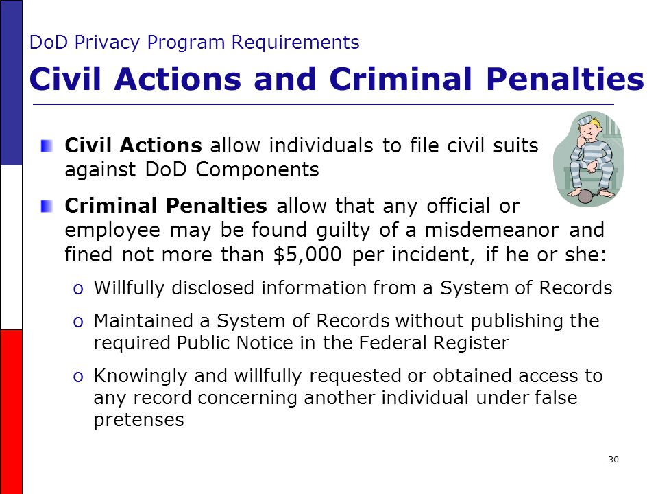 DoD Privacy Program Requirements Civil Actions and Criminal Penalties