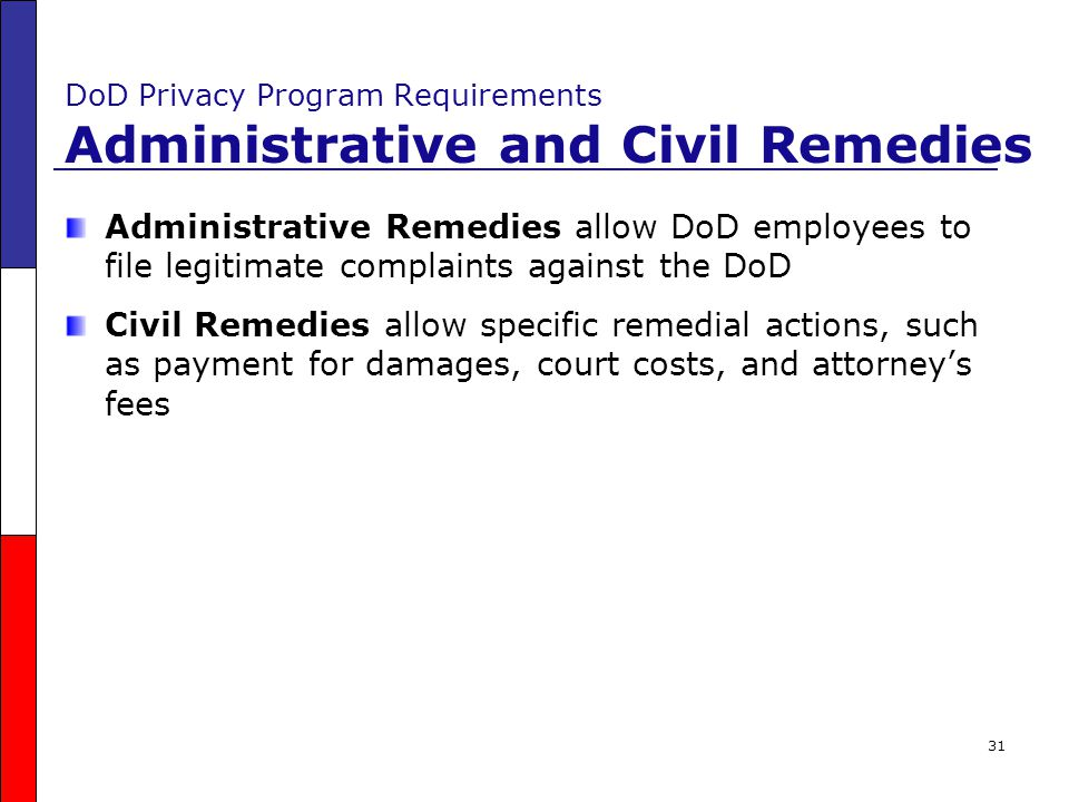 DoD Privacy Program Requirements Administrative and Civil Remedies