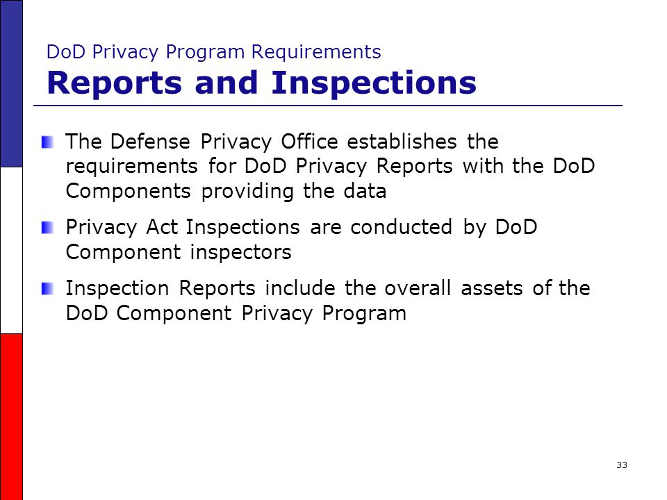 DoD Privacy Program Requirements Reports and Inspections