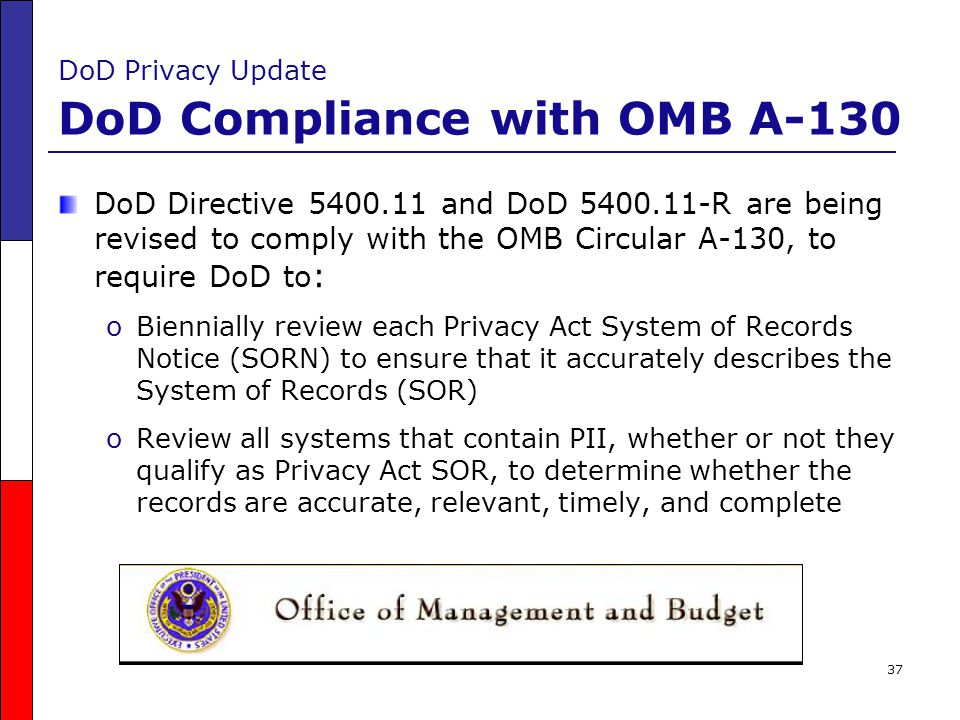 DoD Privacy Update DoD Compliance with OMB A-130