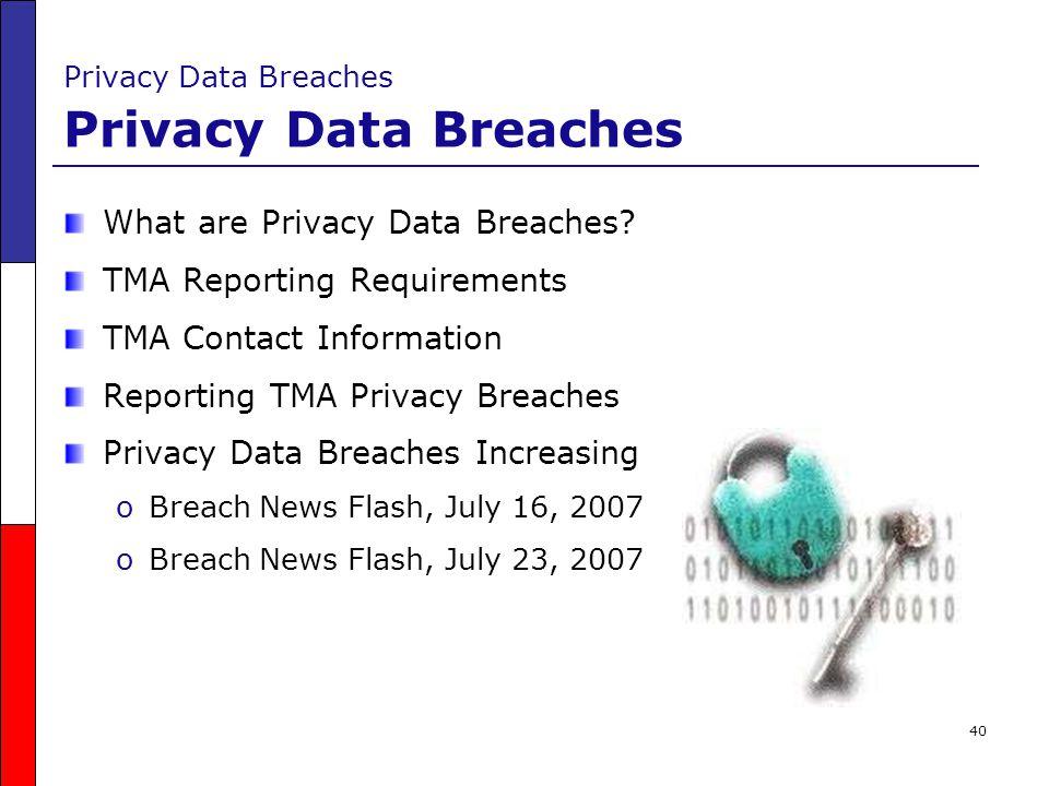 Privacy Data Breaches Privacy Data Breaches