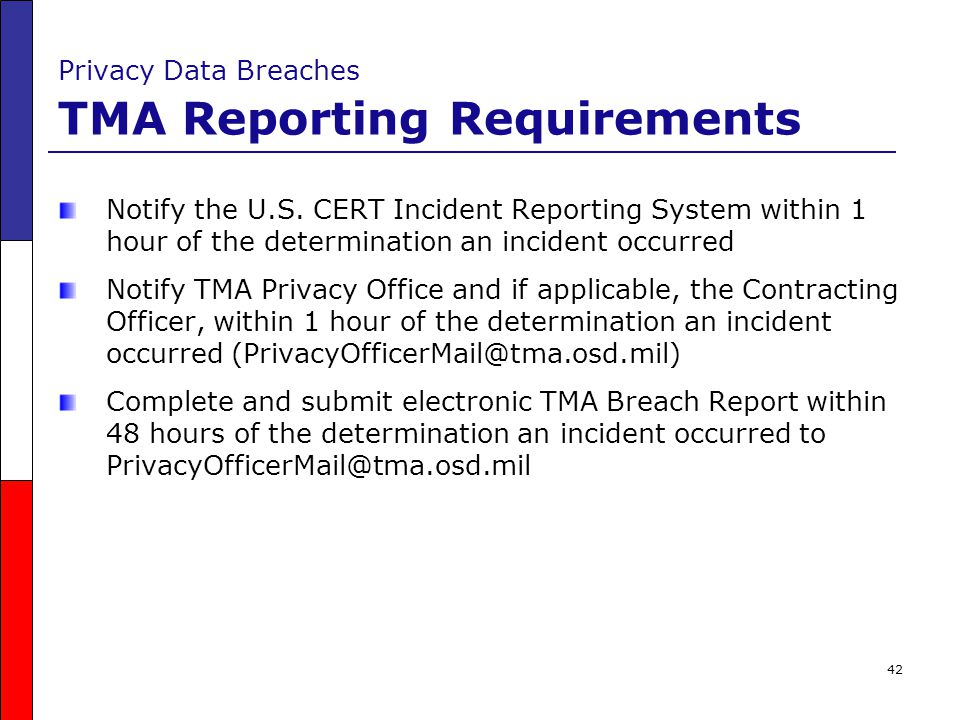 Privacy Data Breaches TMA Reporting Requirements