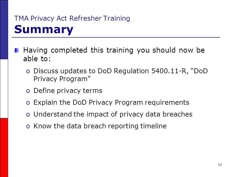 TMA Privacy Act Refresher Training Summary