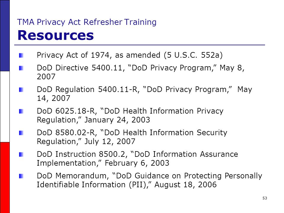TMA Privacy Act Refresher Training Resources