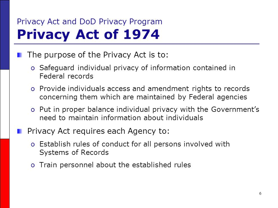 Privacy Act and DoD Privacy Program Privacy Act of 1974